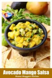 Avocado Mango Salsa is a fruity and slightly spicy appetizer. Grab some chips, and you have a tasty tropical treat. By Mama Maggie's Kitchen