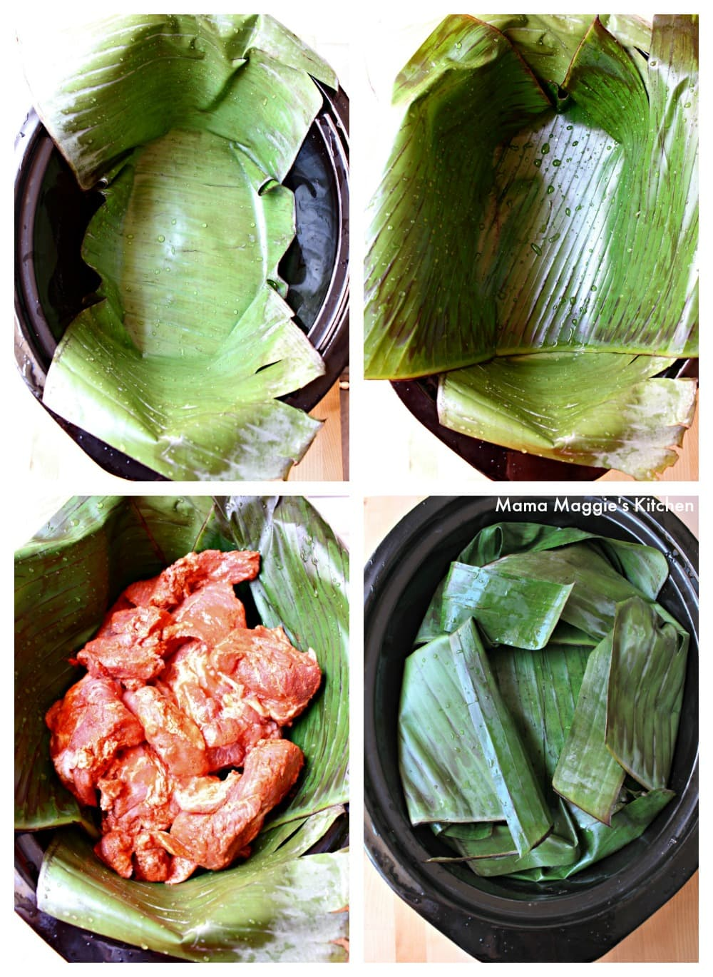A collage of how to assemble the banana leaves in the slow cooker for cochinita pibil.