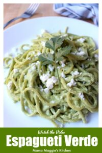 Espagueti Verde is creamy and savory dish that'll make you beg for seconds. Spaghetti tossed in a delicious poblano sauce. Watch the Video. By Mama Maggie's Kitchen