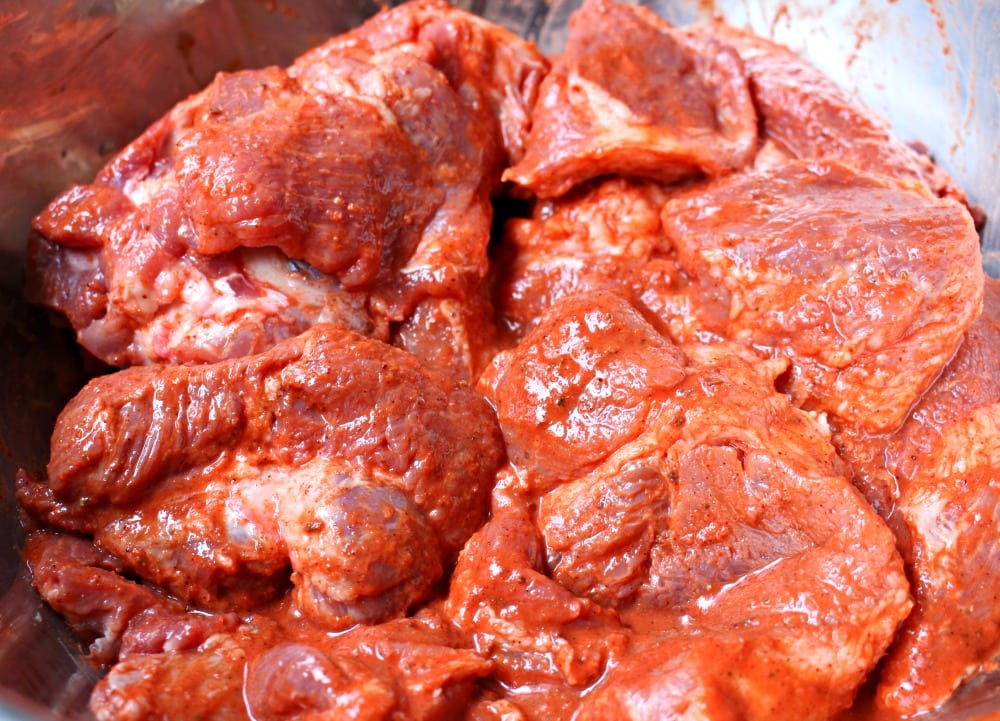 Pork pieces with the red achiote marinade.