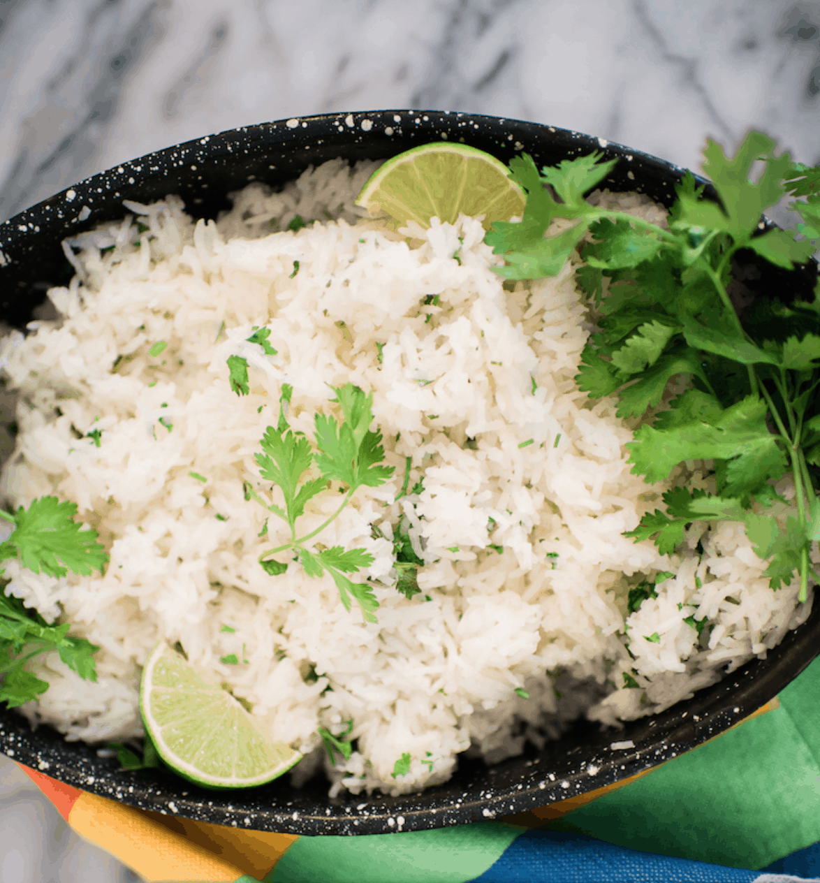 Cilantro Lime Rice in a black bowl.