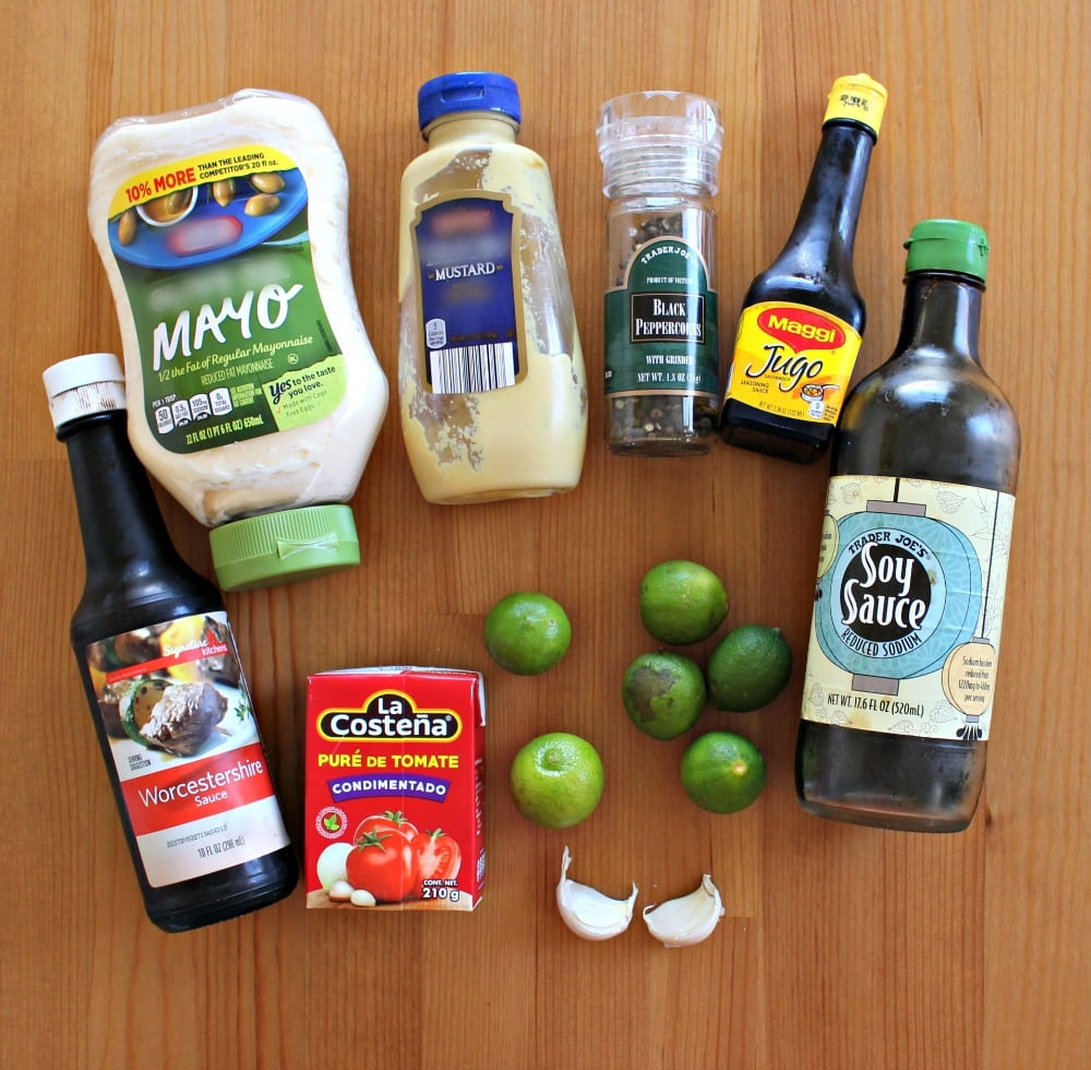 Ingredients for the marinating sauce for Pescado Zarandeado.