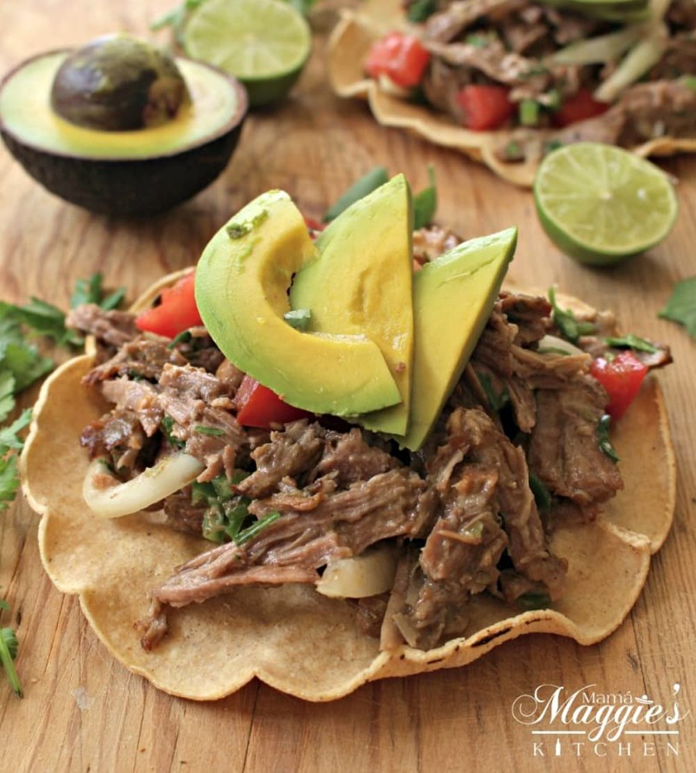 Salpicon de Res is a cold, Mexican beef salad served with a lime-vinegar vinaigrette. Usually served on top of a tostada. It's a great way to use up leftovers and is idea for parties. by Mama Maggie's Kitchen