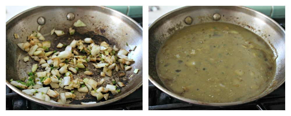 A collage of onion and jalapeno in a skillet and another with salsa verde in the skillet.