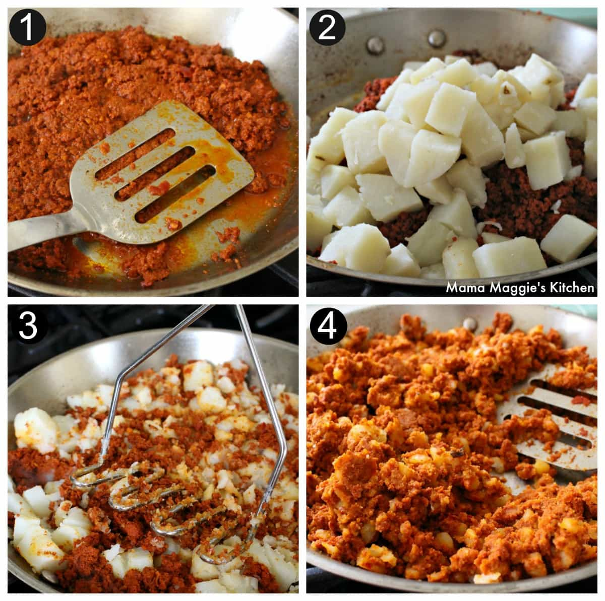 Collage of pictures showing how to make the filling for pambazos.