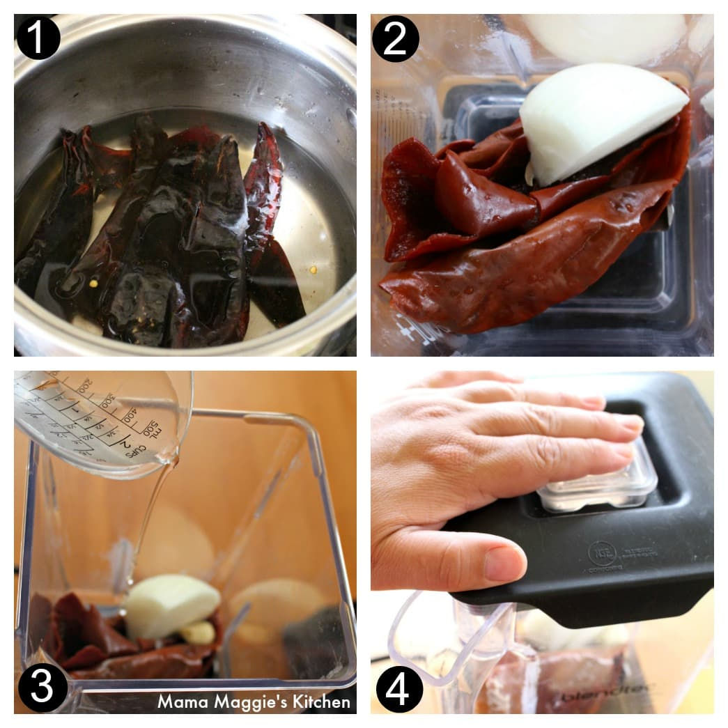 A collage showing how to make the chile guajillo sauce for the pambazos.