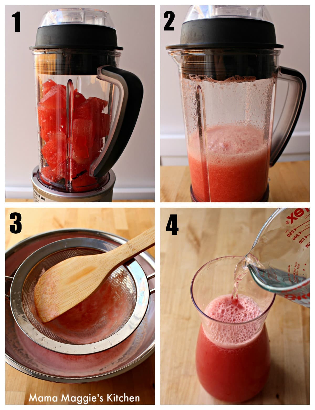 A collage of four pictures showing the process of how to blend and strain the watermelon mixture.