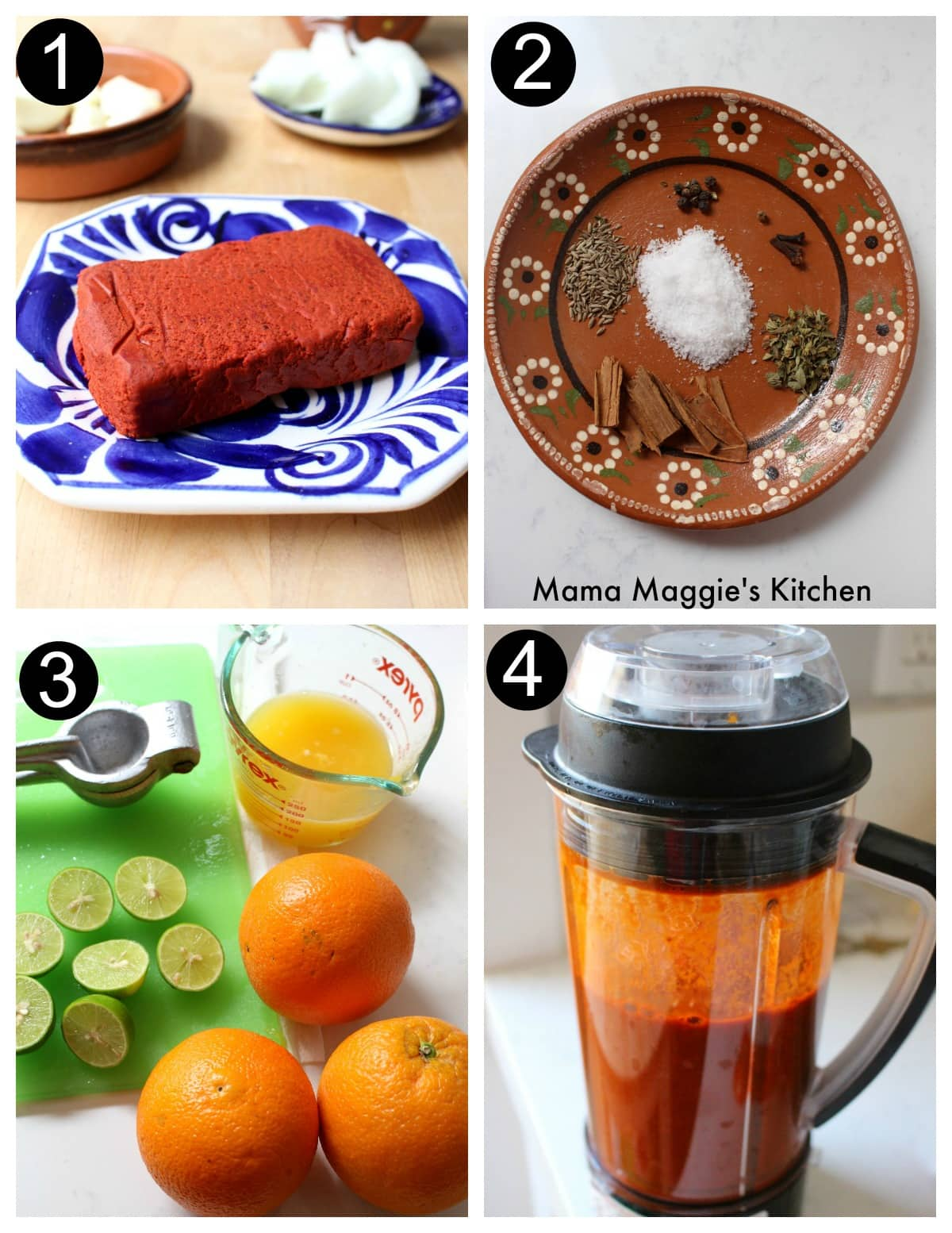 A collage showing the process of how to make the pibil sauce.