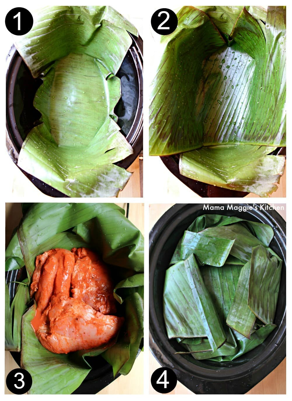 A collage showing how to place the banana leaves inside a slow cooker.