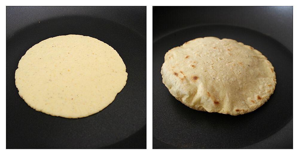 Two pictures (side by side) showing how to cook tortillas.