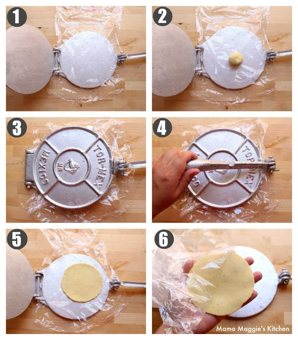 A collage showing how to make corn tortillas using a tortilla press.