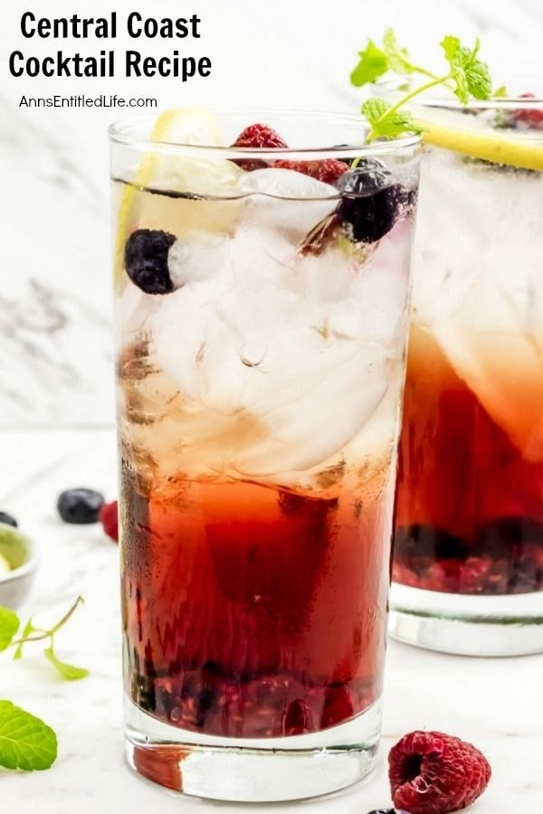 Two Central Coast Cocktails in a glasses with ice and topped with berries.