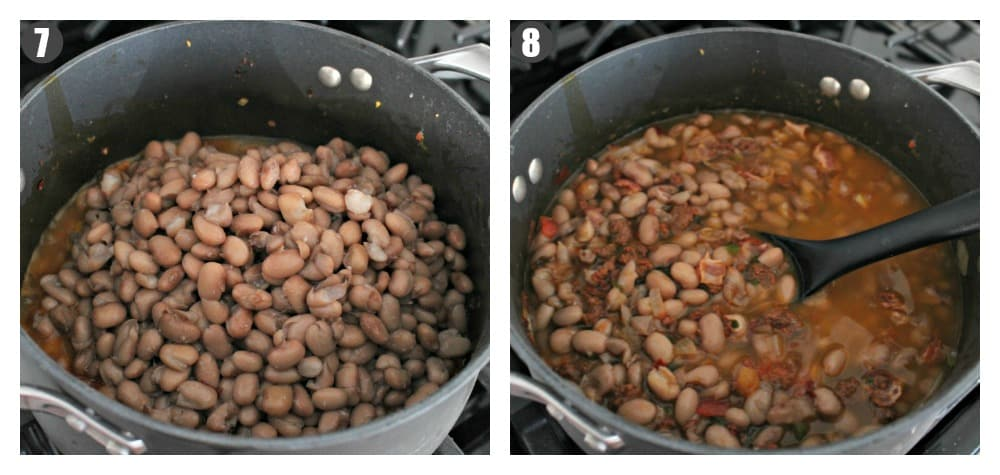 A side by side collage showing the beans cooking inside a stock pot.
