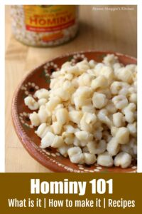 Hominy on a decorative Mexican clay plate.