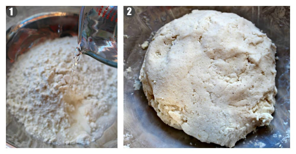 A collage of two pictures. One with water pouring into masa harina and the other of the dough that forms once it is mixed together.