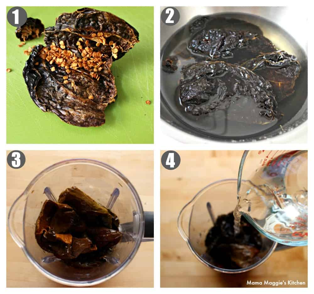 Collage showing step-by-step how to rehydrated and make the sauce for Enchiladas Dulces.