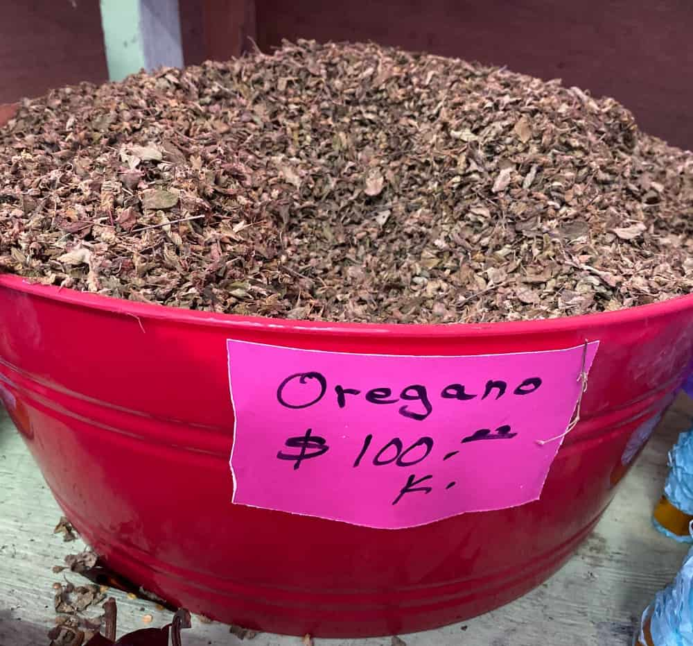 Dried Mexican oregano in a big at a mercado in Mexico.
