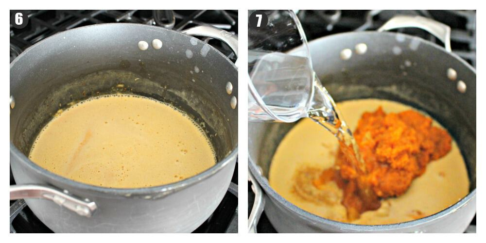 Two side by side pictures of water and pumpkin being adding to a stock pot.