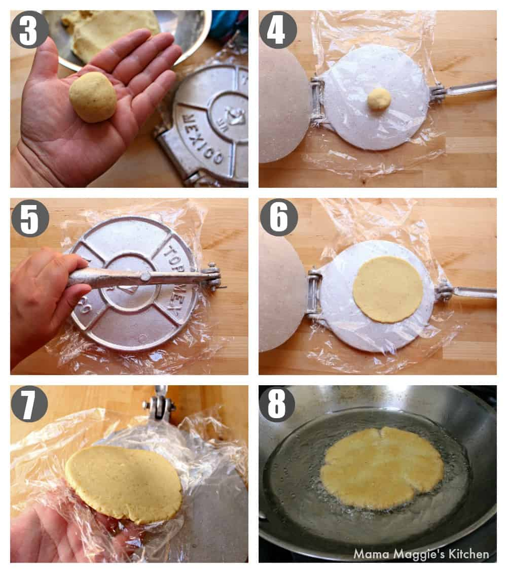 A collage of how to form the dough for a sope using a tortilla press.