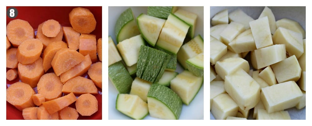 Three pictures showing the different vegetables you can add to the Mexican Albondigas Soup.