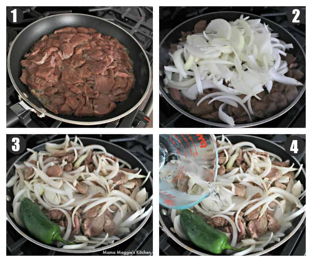 A collage showing the process of how to make beef liver and onions Mexican style.