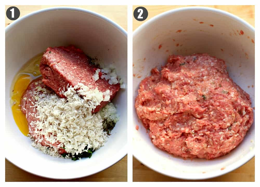 Two pictures side by side showing how to to mix the ingredients for the meatballs.