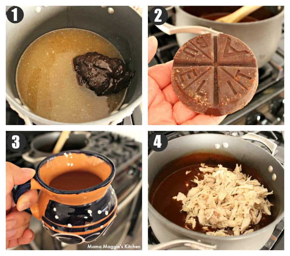 A collage showing how to make mole.
