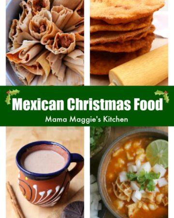 A collage of tamales, bunuelos, champurrado, and menudo.