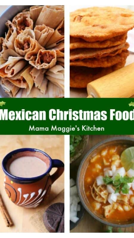 A collage of tamales, bunuelos, champurrado, and menudo.