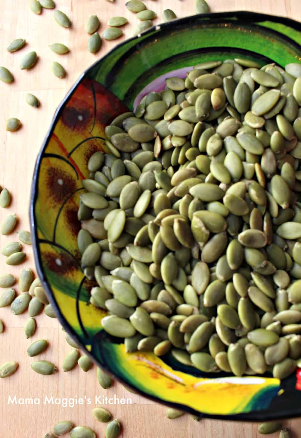 Mexican Pepita seeds in a decorative and colorful bowl.