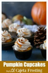 An image of a pumpkin cupcake with cajeta frosting surrounded by more cupcakes and a pinecone.