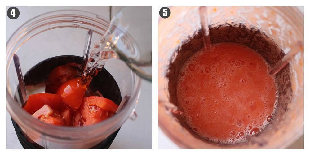 Two pictures side by side showing how to make the tomato sauce.