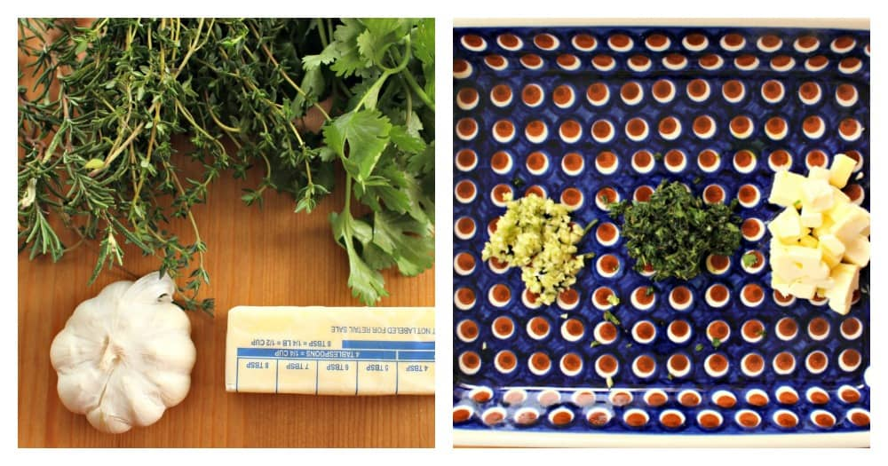 A collage of herbs whole and then chopped.
