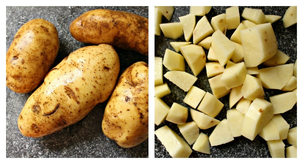 A collage of whole potatoes next to diced potatoes.