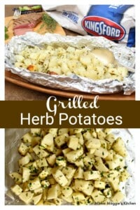 A collage of grilled herb potatoes.