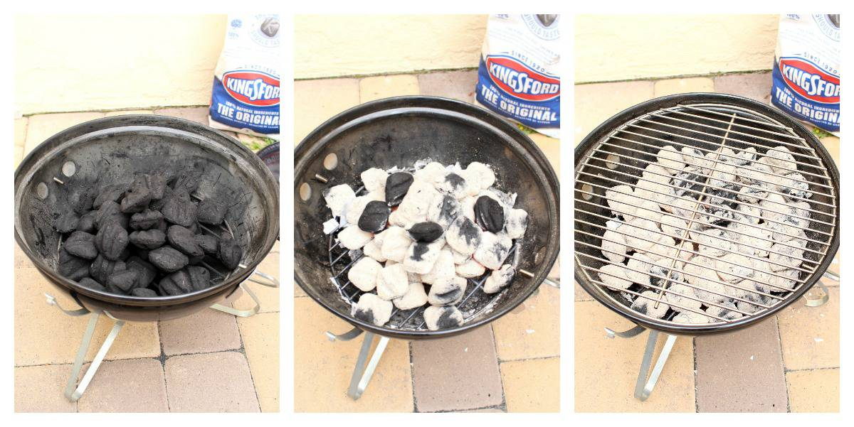 A collage showing how to light the charcoal in a grill.