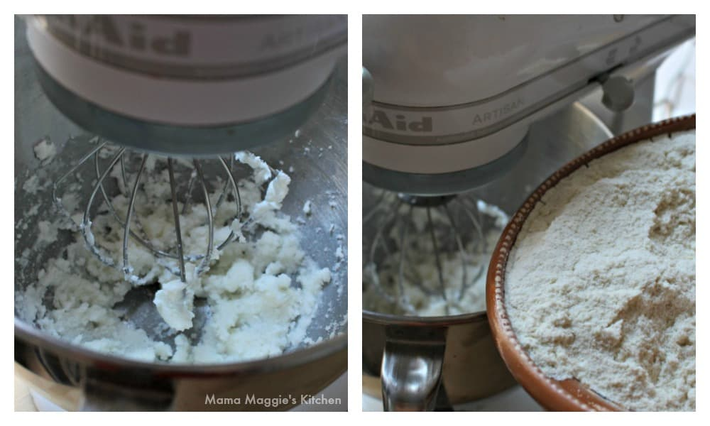 Two pictures side by side, showing a Kitchen Aid mixer and masa harina being added to the pot.