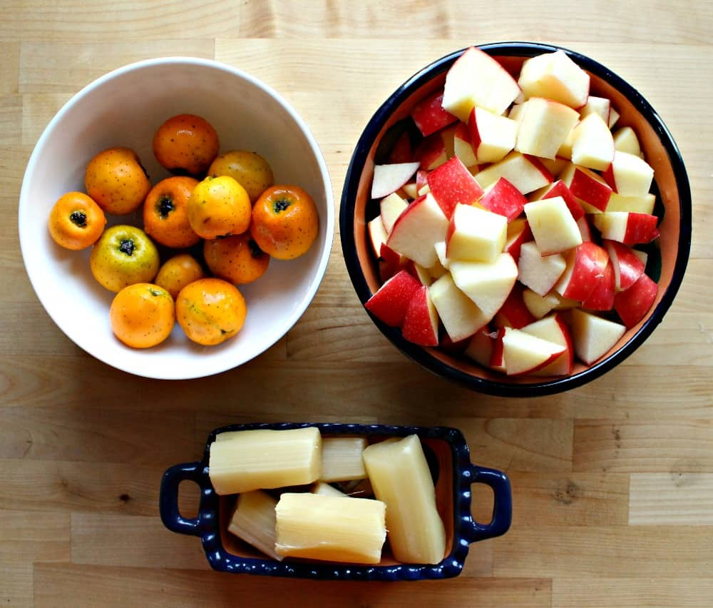 Tejocotes, diced apples, and sugar cane sitting in bowls.