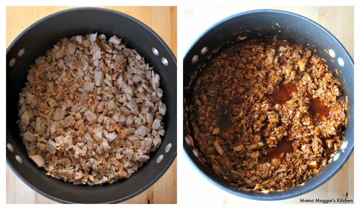 Two pictures side-by-side showing turkey meat in a stock pot with and without the pibil sauce.