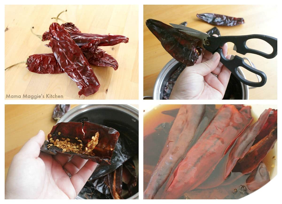 A collage showing how to cut open and rehydrate guajillo chiles.