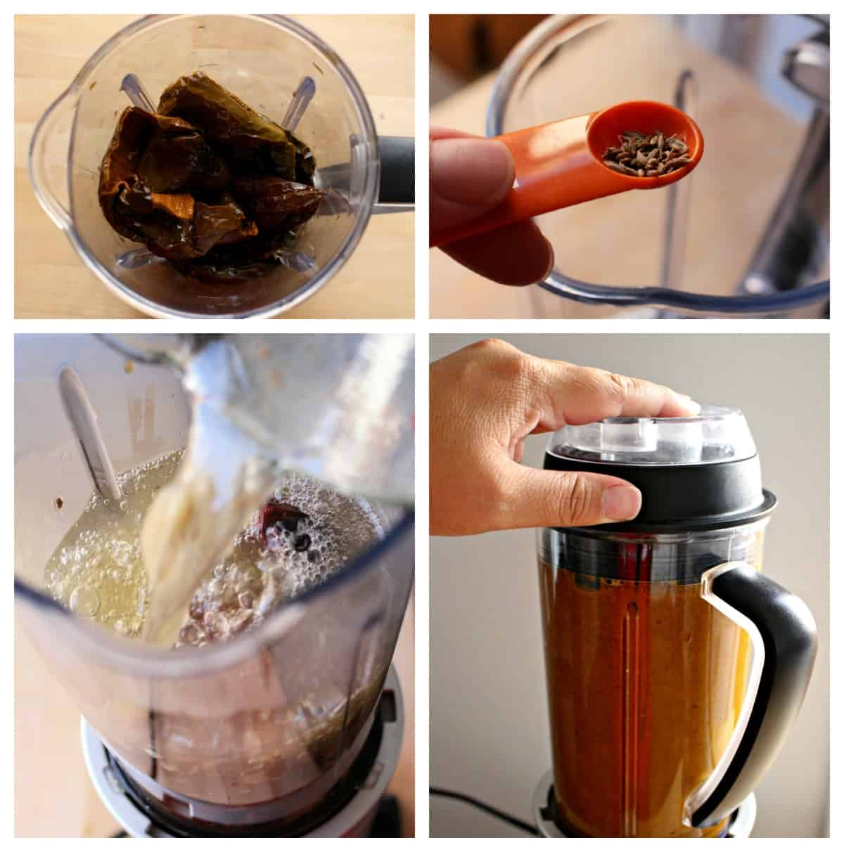 A collage showing how to make chile colorado sauce in the blender.