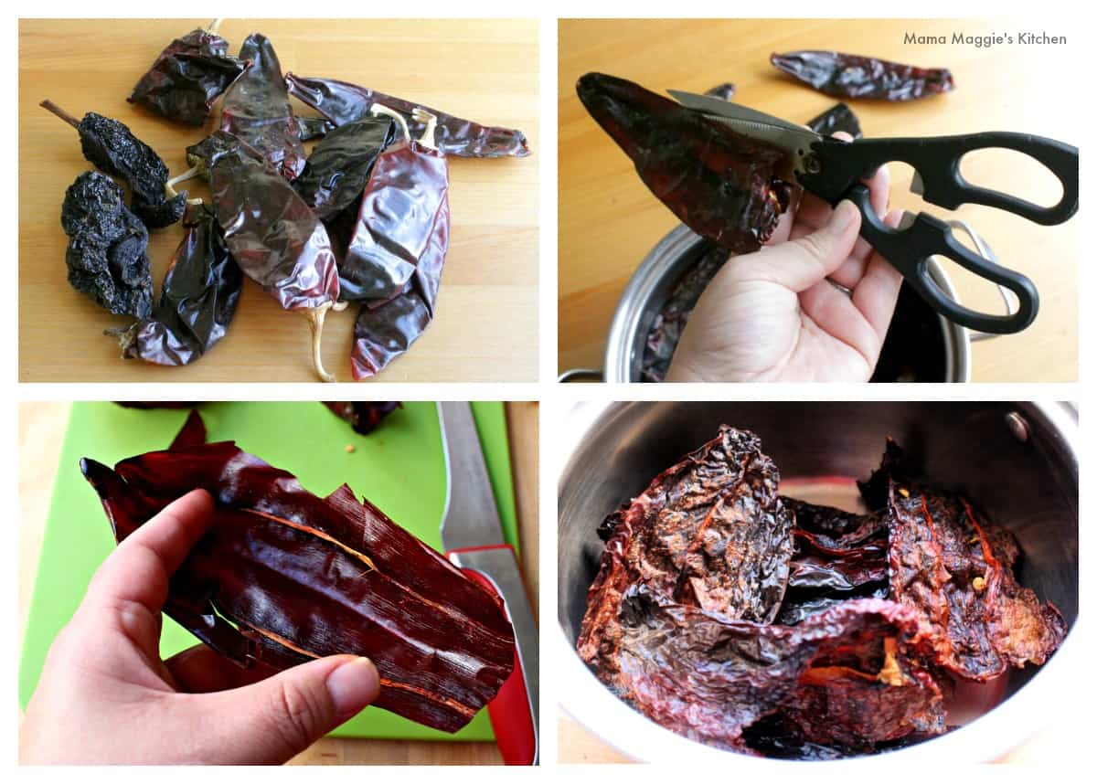 A collage showing how to rehydrate dried chiles.
