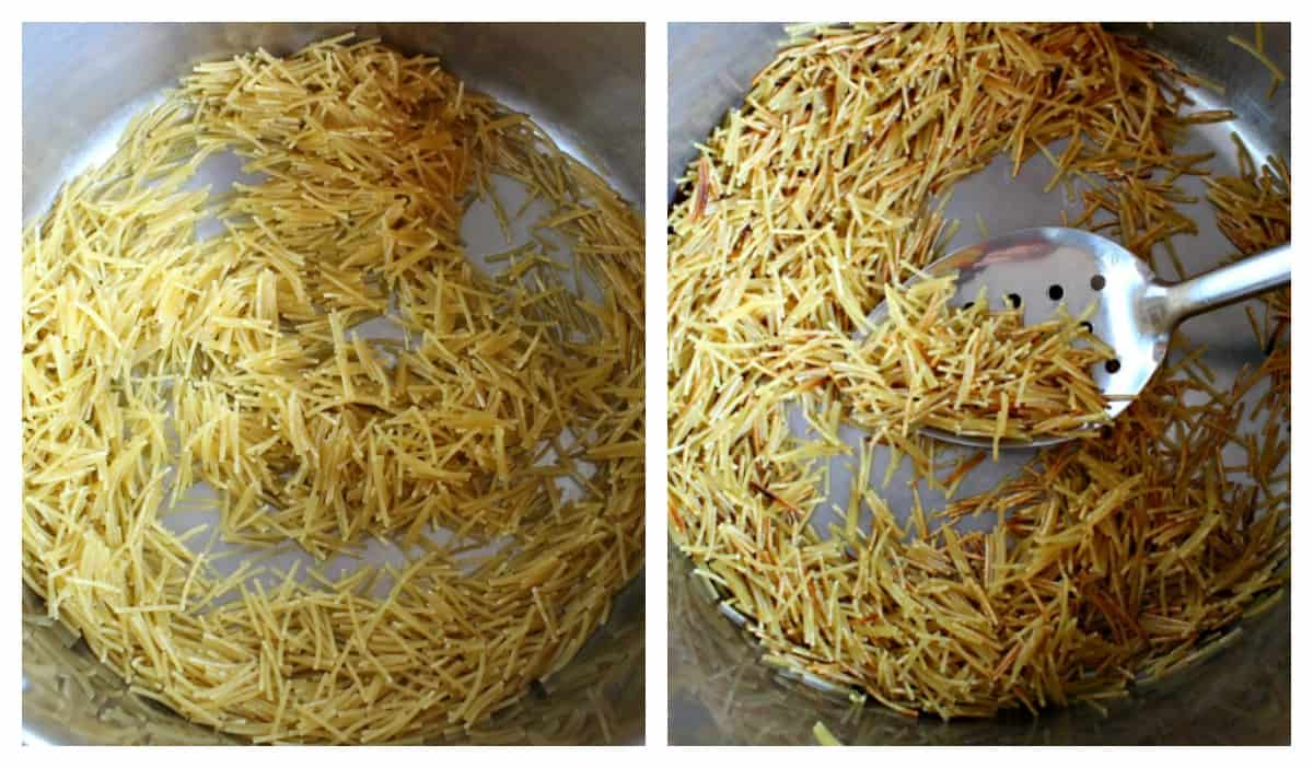Two pictures side by side showing how to toast fideo pasta.