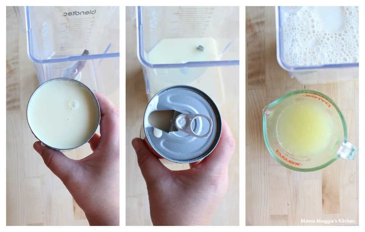 An overhead collage image showing how to make the creamy sauce for the Mexican dessert.