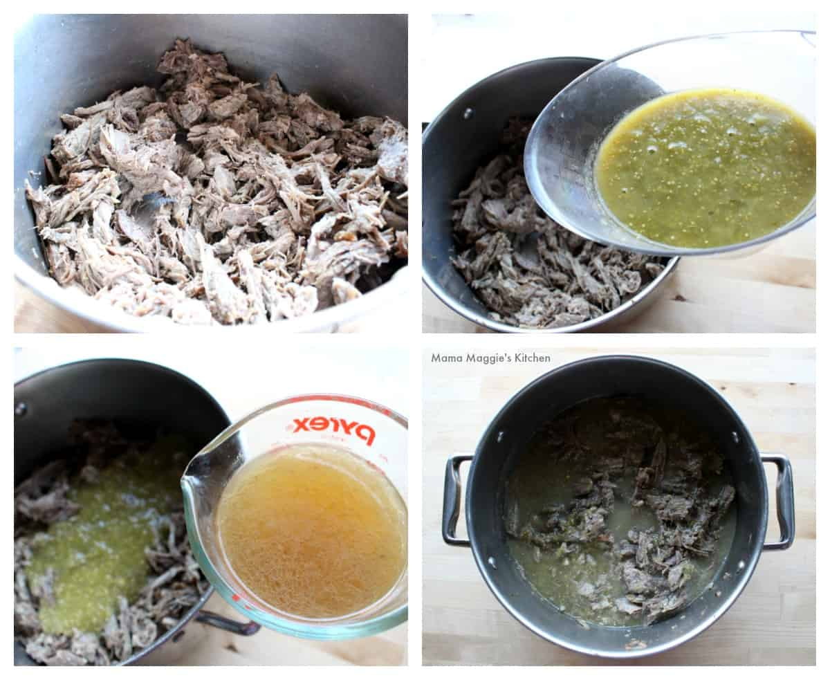 A collage showing how to make the shredded beef filling for Durango Burritos.