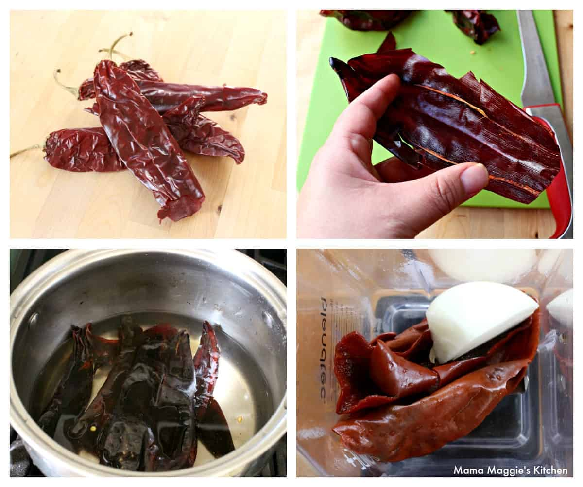 A collage showing how to make the guajillo sauce.