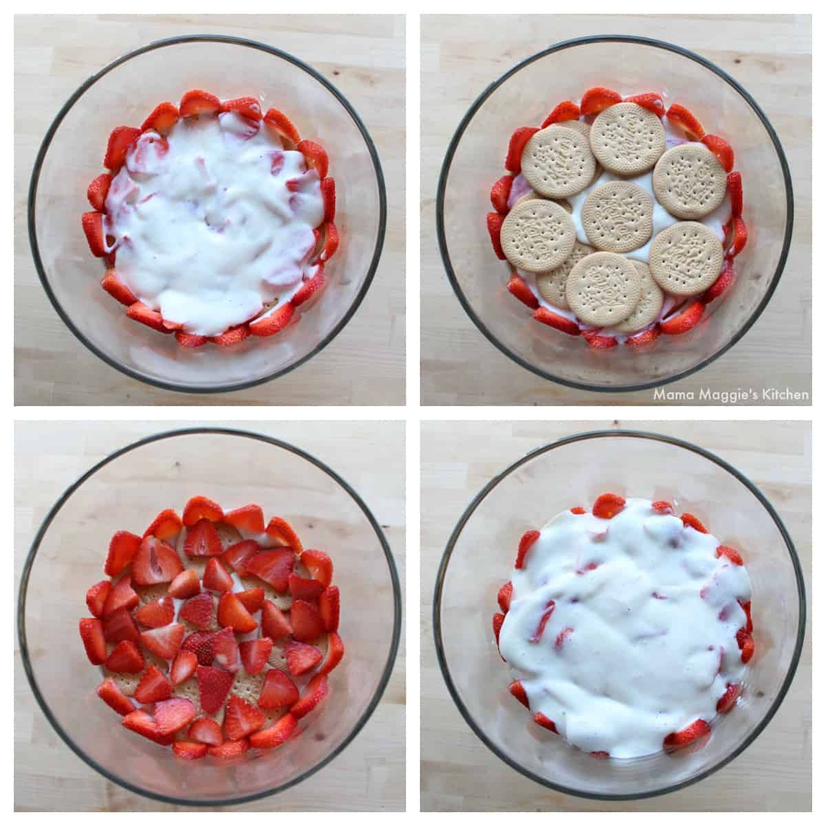 A collage showing how to layer a Carlota de Fresa trifle.