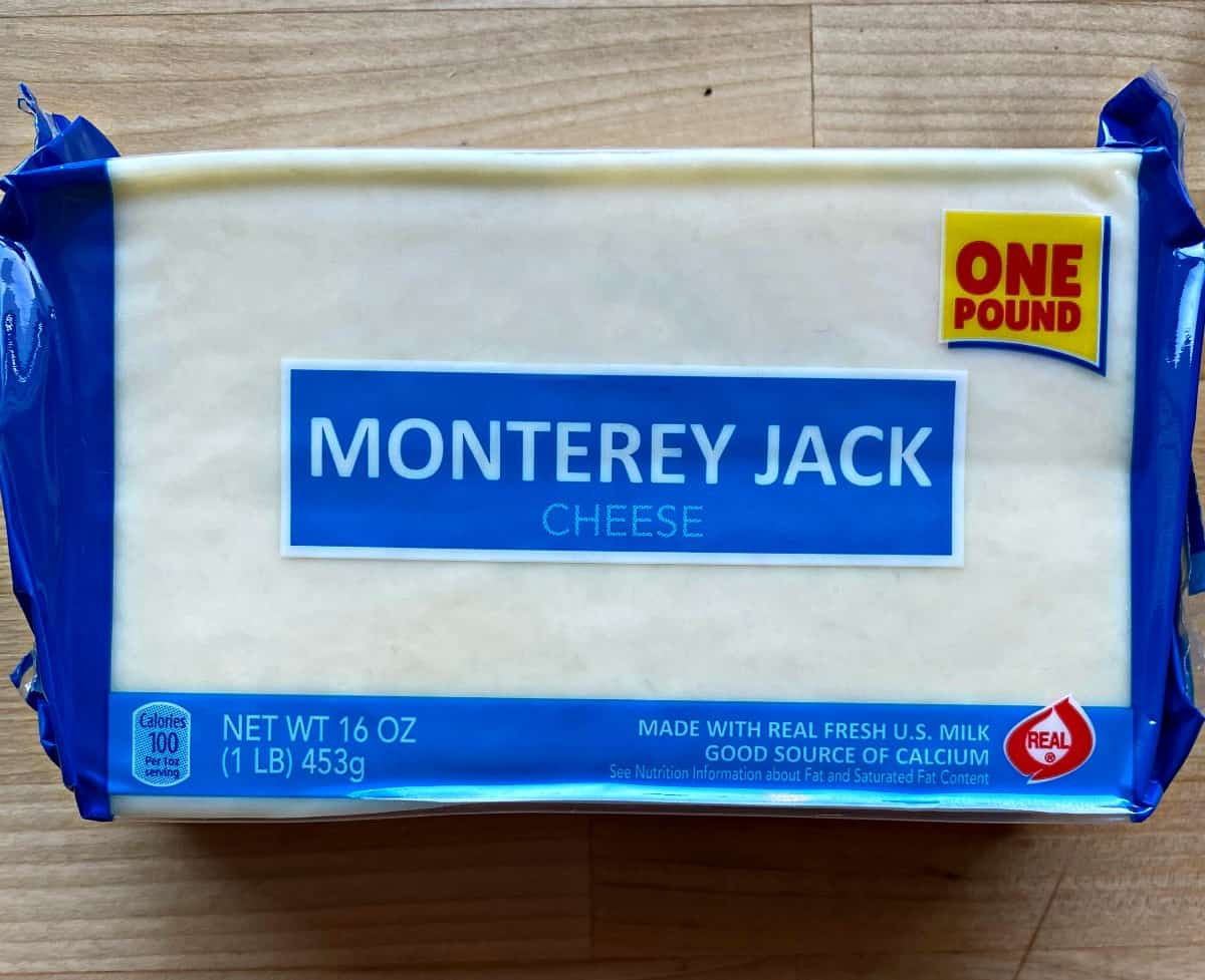 A picture of a block of Monterey jack cheese.