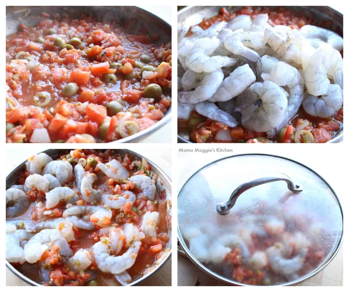 A collage showing how to cook the shrimp in the Veracruzana sauce.