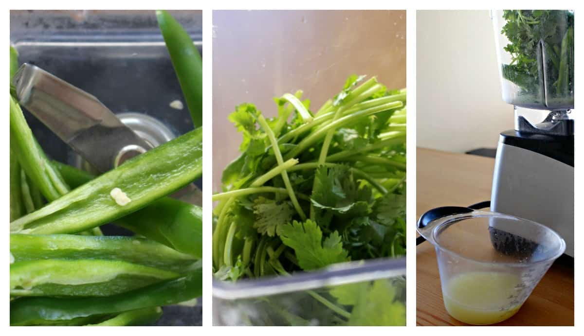 A collage showing how to make the sauce for Aguachile.
